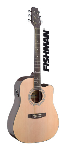 Dreadnought electro-acoustic cutaway concert guitar with FISHMAN preamp