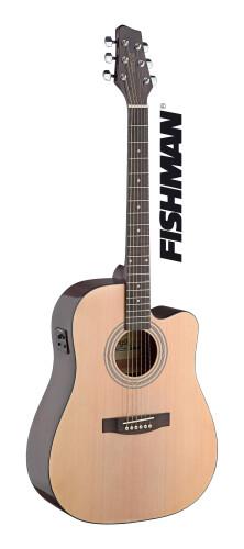 Guitare électro-acoustique, dreadnought pan coupé, avec EQ Fishman