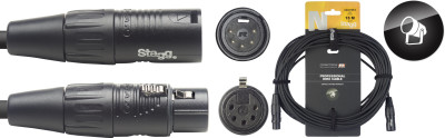 DMX cable, XLR/XLR (m/f) (5 pins), 15 m (50'), N-series