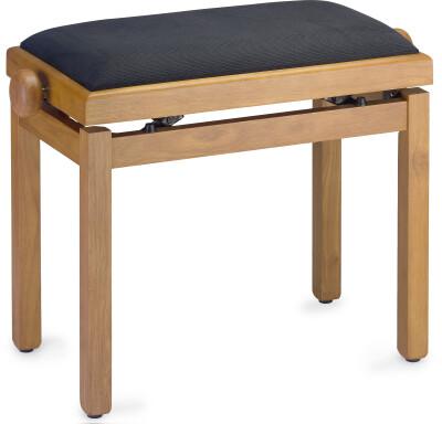 Light matt piano bench, wild cherry colour, with black velvet top