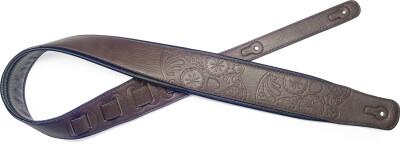 Sangle rembourrée marron foncé en similicuir pour guitare avec motif de crâne mexicain