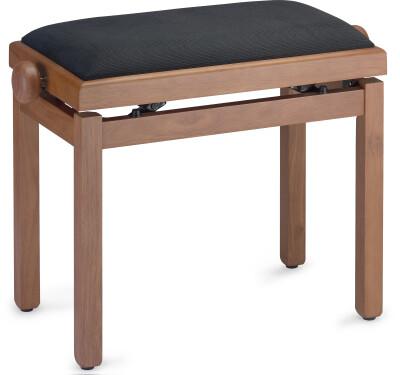 Matt piano bench, wild cherry colour, with black velvet top