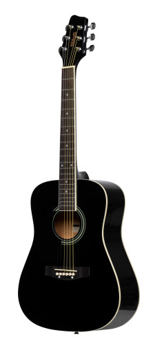 3/4 black dreadnought acoustic guitar with basswood top, left-handed model