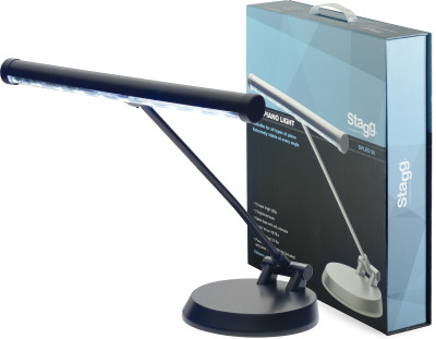 Black battery-powered or mains-operated LED piano or desk lamp