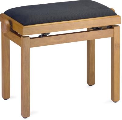 Matt piano bench, oak colour, with black velvet top