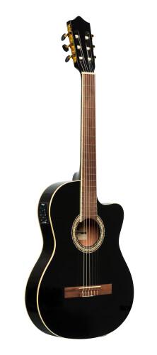 Guitare classique électro-acoustique pan coupé SCL60 avec EQ 4 bandes de B-Band, noire