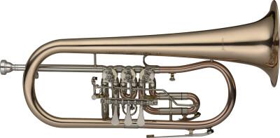 Bb Bugel met draaiventielen, korpus in goudmessing, trigger