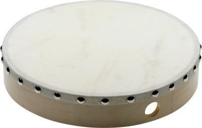 "10"" pre-tuned wooden hand drum with rivetted skin"