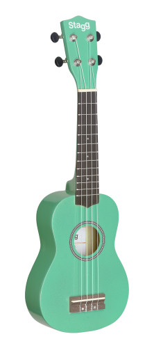 Green soprano ukulele with basswood top, in nylon gigbag