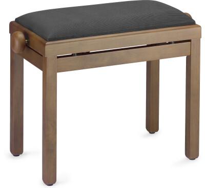 Matt piano bench, walnut colour, with black velvet top