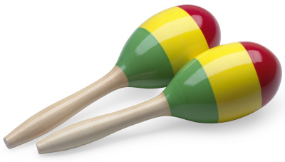 "Pair of oval wooden maracas, reggae finish, 29 cm (11.4"")"