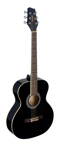 4/4 black auditorium acoustic guitar with linden top