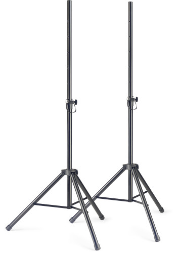 Q series steel speaker stand pair with folding legs