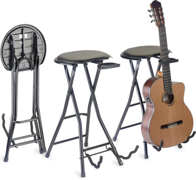 Foldable round stool with black vinyl top and built-in guitar stand