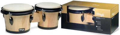 "7.5"" and 6.5"" natural-coloured traditional wood bongos"