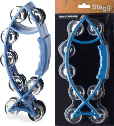 Fish-shaped blue plastic tambourine with 16 jingles