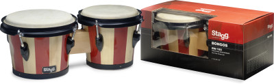 "7.5"" and 6.5"" traditional wood bongos with two-tone finish"