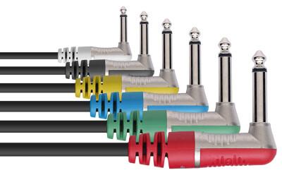 N-Series Patch Cable 6-pack - 90° Mono Phone Plug / 90° Mono Phone Plug