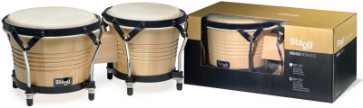 "7.5"" and 6.5"" natural-coloured Latin wood bongos"