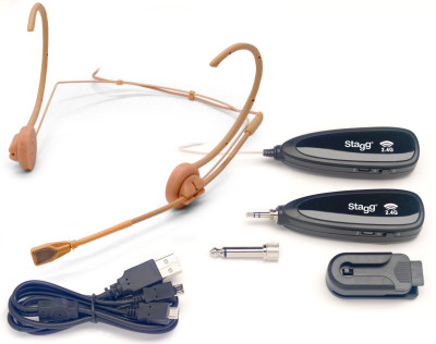 Beige wireless headset microphone set
