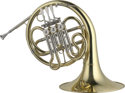 Bb Junior Horn, 3 rotary valves, leadpipe in gold brass