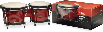 "7.5"" and 6.5"" wild-cherry-coloured Latin wood bongos"