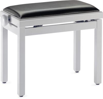 Pianobank, hooglanzend wit, met zwartfluwelen bekleding