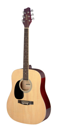 3/4 natural dreadnought acoustic guitar with basswood top, left-handed model