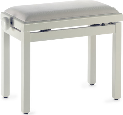 Highgloss piano bench, ivory colour, with white velvet top