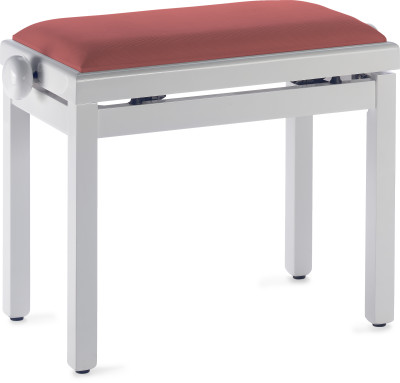 White piano bench with red velvet top