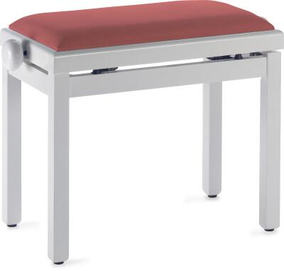 Witte pianobank met rode fluwelen zitting