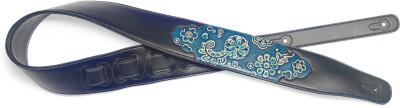 Sangle rembourrée noire en similicuir pour guitare, motif paisley bleu, pressé