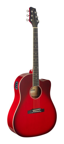 Cutaway, akustisch-elektrische Slope Shoulder Dreadnought Gitarre, Transparent Rot