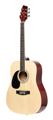 Natural dreadnought acoustic guitar with basswood top, left-handed model