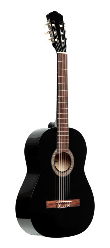 3/4 classical guitar with linden top, black