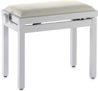 Highgloss white piano bench with beige velvet top