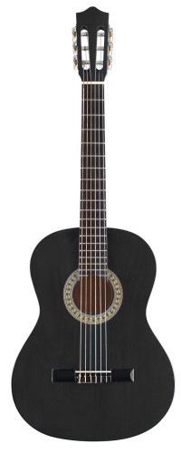 3/4 black classical guitar with basswood top