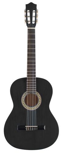 Guitare classique 3/4 noire avec table en tilleul