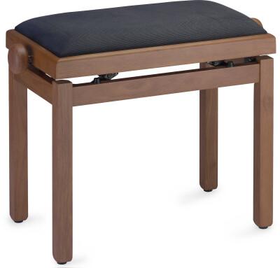 Medium matt piano bench, wild cherry colour, with black velvet top