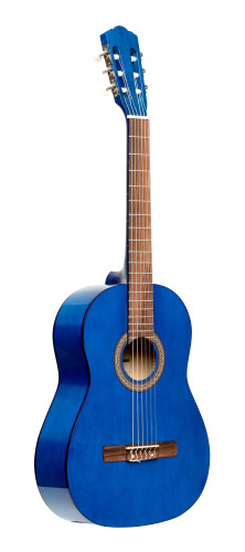 3/4 classical guitar with linden top, blue