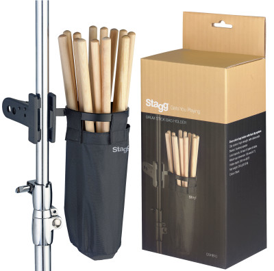 Drum stick/beater bag holder with fast clip system