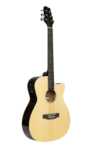 Guitare auditorium électro-acoustique avec pan coupé, de couleur naturelle