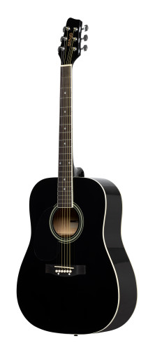 Black dreadnought acoustic guitar with basswood top, left-handed model