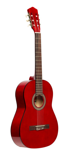 3/4 classical guitar with linden top, red