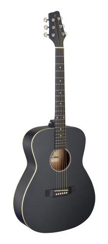 Guitare auditorium avec table en tilleul, noire, modèle gaucher