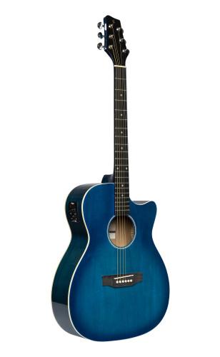 Guitare auditorium électro-acoustique avec pan coupé, bleu transparent