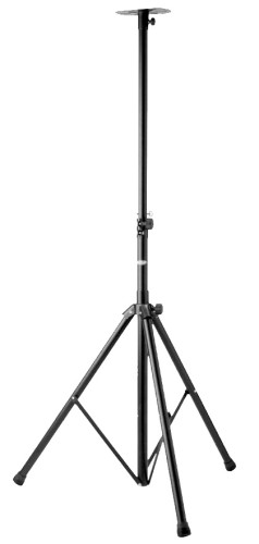 Heavy-duty speaker stand with folding legs and steel tubing