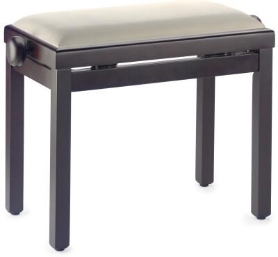 Matt piano bench, rosewood colour, with beige velvet top