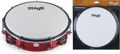 """8"""" Tuneable plastic tambourine with 2 rows of jingles"""