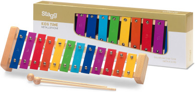 Metallophone with 12 colour-coded keys and two wooden mallets